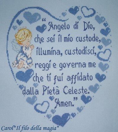 """Cuscino Quadretto cuore """"PREGHIERA ANGELO DI DIO BIMBO"""" - punto croce -"""