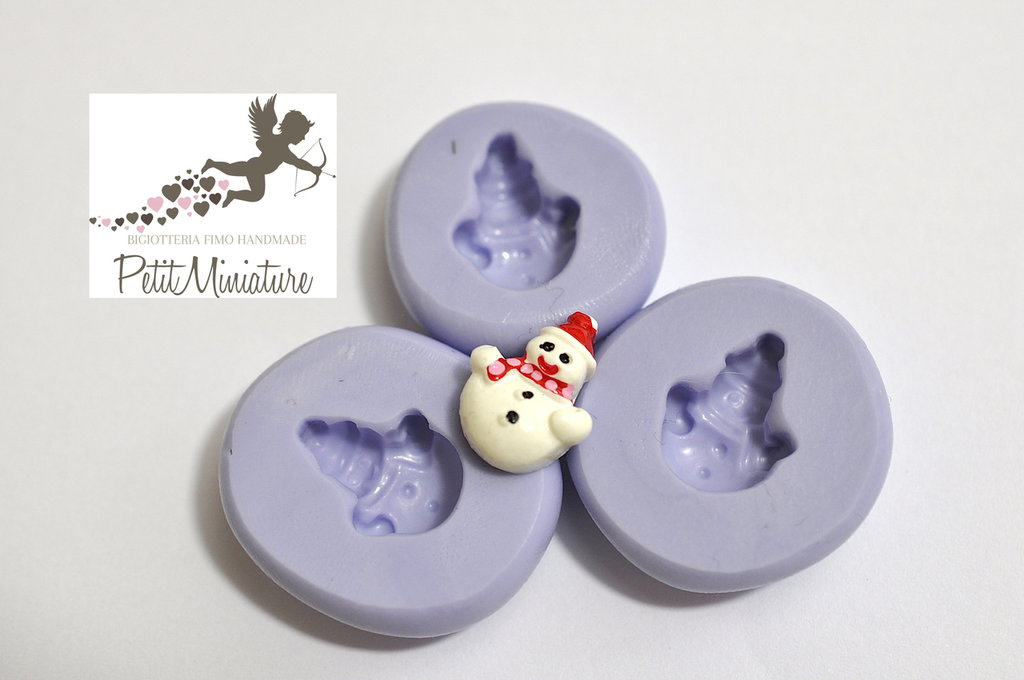 Stampo Silicone Flessibile Pupazzo Di Neve 15mm -Stampo Natale-Stampo Gioielli charm Kawaii ST240