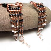 Collana rame, girocollo rame, bianco e nero - Nefertari - 0337-1