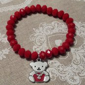 Bracciale elastico con cristalli rossi e ciondolo orsetto