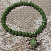 Bracciale elastico con cristalli verdi e teiera
