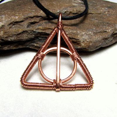 Harry Potter ciondolo, ciondolo I Doni Della Morte, ciondolo unisex, ciondolo in rame, fatto a mano