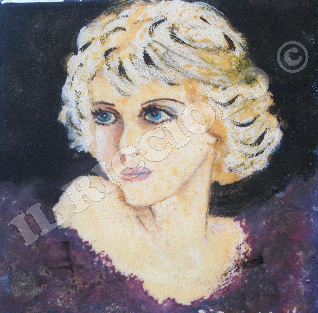 """Quadro ad olio su legno  rappresentante viso di donna tipo anni """"20.."""