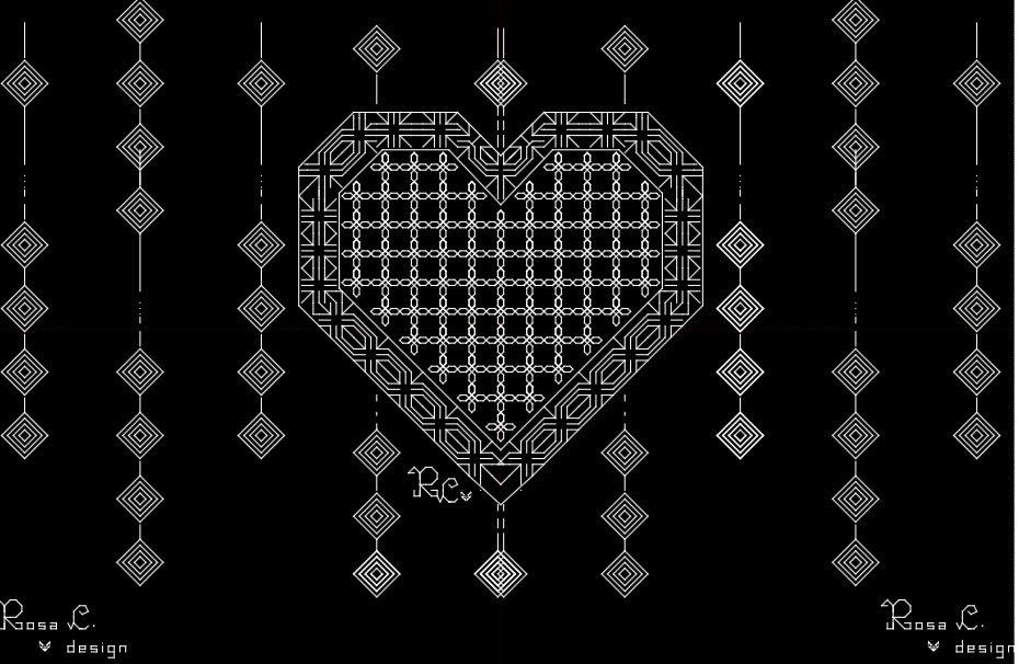 Pattern cuore in punto scritto