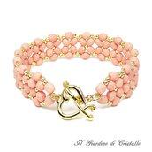 Bracciale a fascia con mezzi cristalli rosa pesca e perline oro fatto a mano - Giacinto