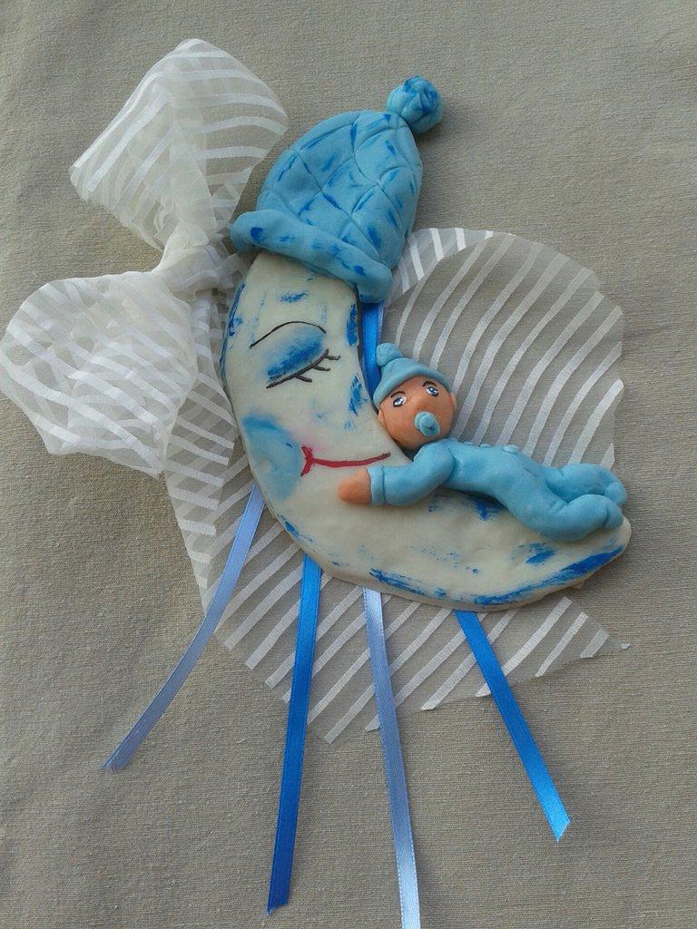 Fiocco nascita azzurro bimbo sulla luna in pasta di mais