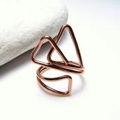Anello in rame. Anello forme geometriche. Anello triangoli. Anello aggiustabile. Anello semplice. Fatto a mano. Anello forme particolari.