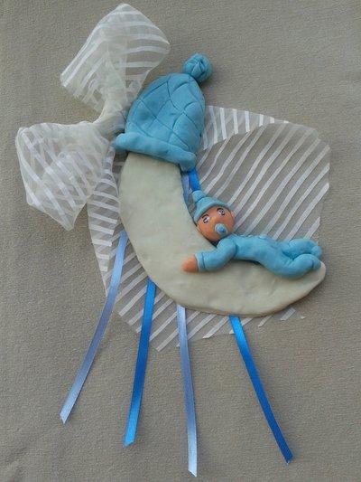 Fiocco nascita bimbo azzurro sulla luna in pasta di mais