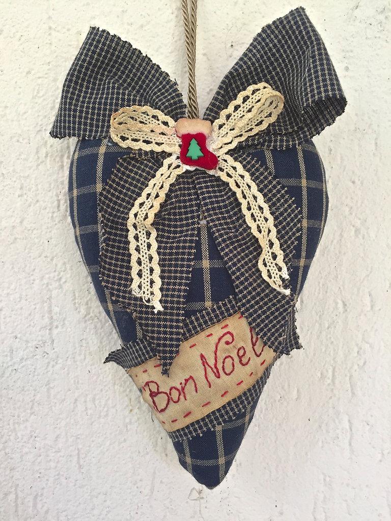 "Natale - Cuore in stoffa country - Primitive ""bon Noel"""