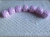 Cubi nome cake topper per nascita o battesimo interamente realizzati a mano in pasta FIMO