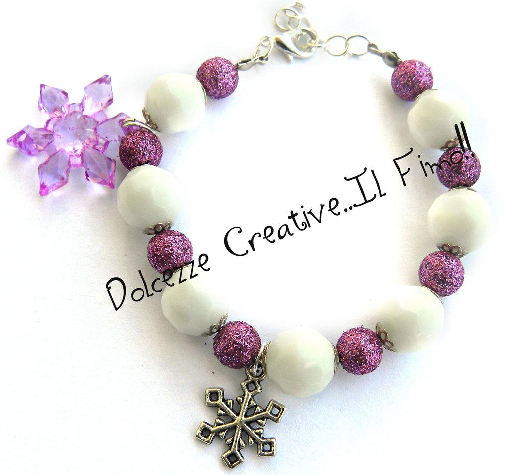 ☃ Natale In Dolcezze 2015 ☃ Bracciale Con fiocco di neve - perle bianche e viola