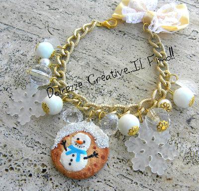 ☃ Natale In Dolcezze 2015 ☃ Bracciale Cookie - Biscotto con pupazzo di neve - Perle e fiocchi