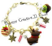 ☃ Natale In Dolcezze 2015 ☃ Bracciale fiocchi di neve, renna, donut, cupcake, muffin, albero di natale, kawaii, idea regalo
