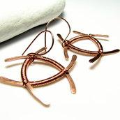 Grandi orecchini in rame, forme geometriche, gioielli geometrici, orecchini particolari