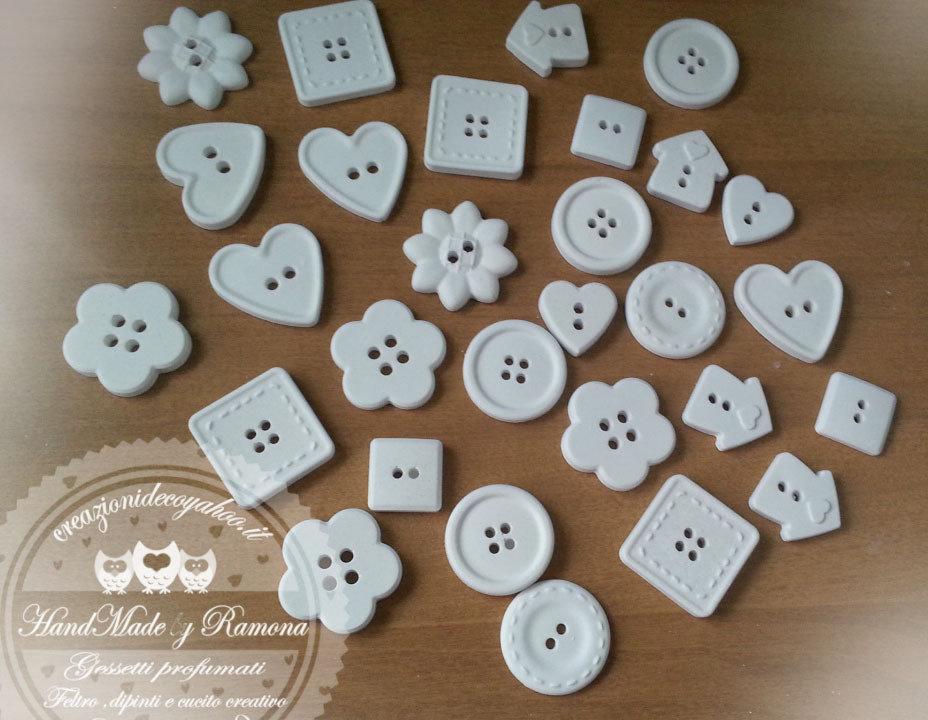 24 pz Gessetti profumati Bottoni a forma di cuore,rotondi, quadrato,casetta,fiore , bomboniere, nascita,matrimonio, casa,battesimo