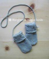 Muffole neonato trecce in pura lana merino extrafine superwash colore grigio perla