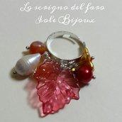 Anello regolabile Autunno con foglia rossa e perline