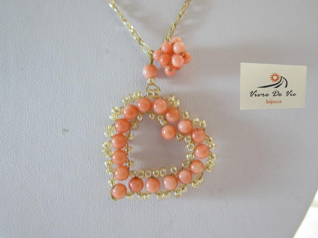 Collana in argento e corallo rosa di bambu'