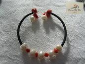 Bracciale caucciu' perle e pasta corallo rosso