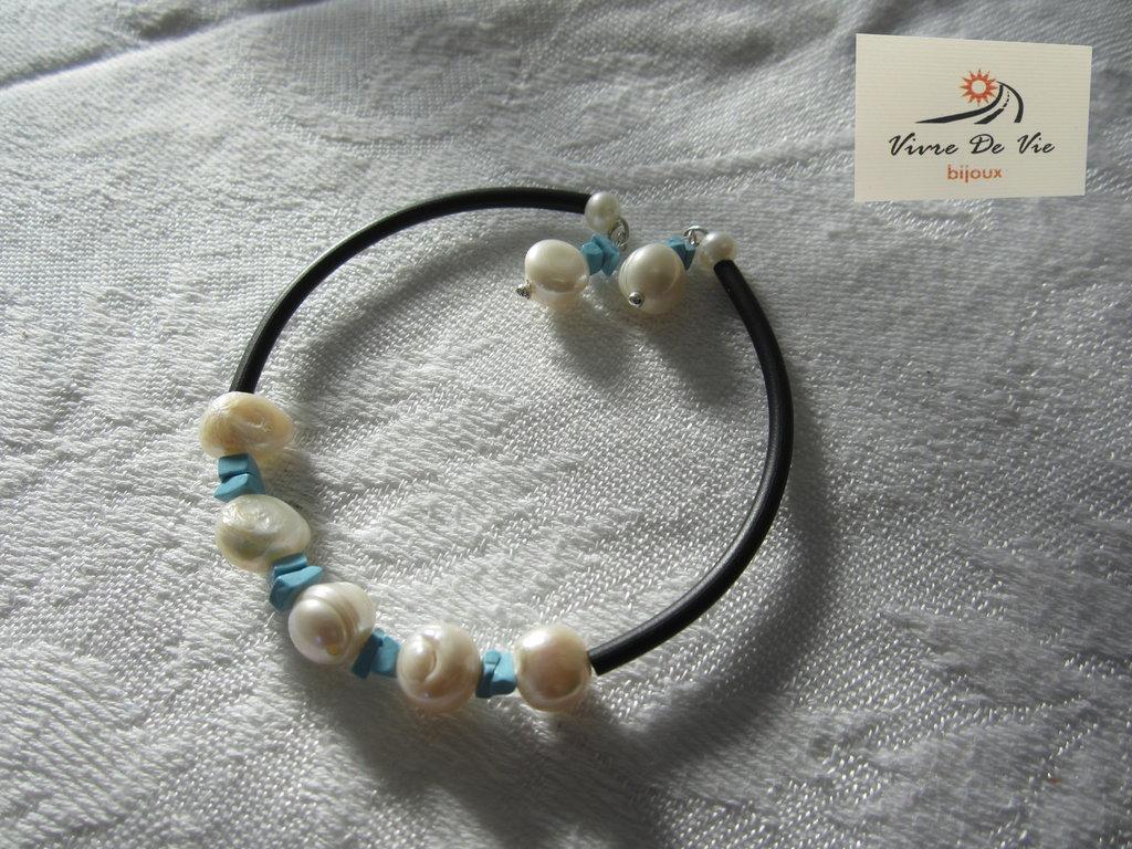 Bracciale caucciu' perline e pasta di turchese