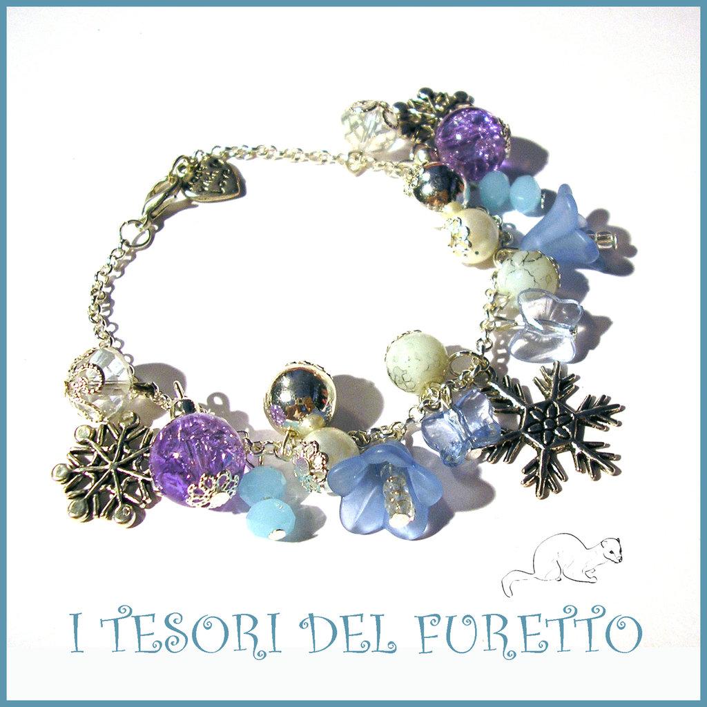 """Bracciale Natale 2015 """" Let it snow Azzurro"""" Fiocchi neve charm perle cristalli elegante idea regalo donna ragazza bijoux natalizi"""
