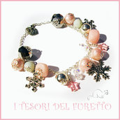 "Bracciale Natale 2015 "" Let it snow Rosa Argento"" Fiocchi neve charm perle cristalli elegante idea regalo donna ragazza bijoux natalizi"