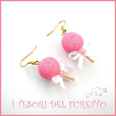 """Orecchini Natale """"Cake pop Glitter Rosa """"  lollipop chupa chups dolcetti bijoux natalizi idea regalo bambina donna ragazza economica"""