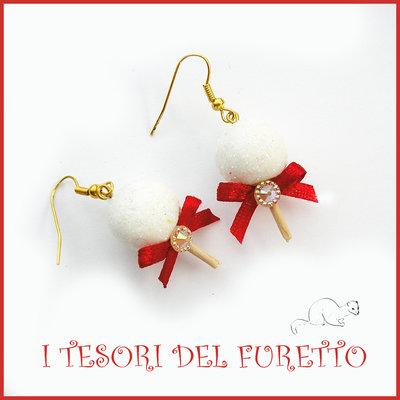 """Orecchini Natale """"Cake pop Glitter Bianco""""  lollipop chupa chups dolcetti bijoux natalizi idea regalo bambina donna ragazza economica"""