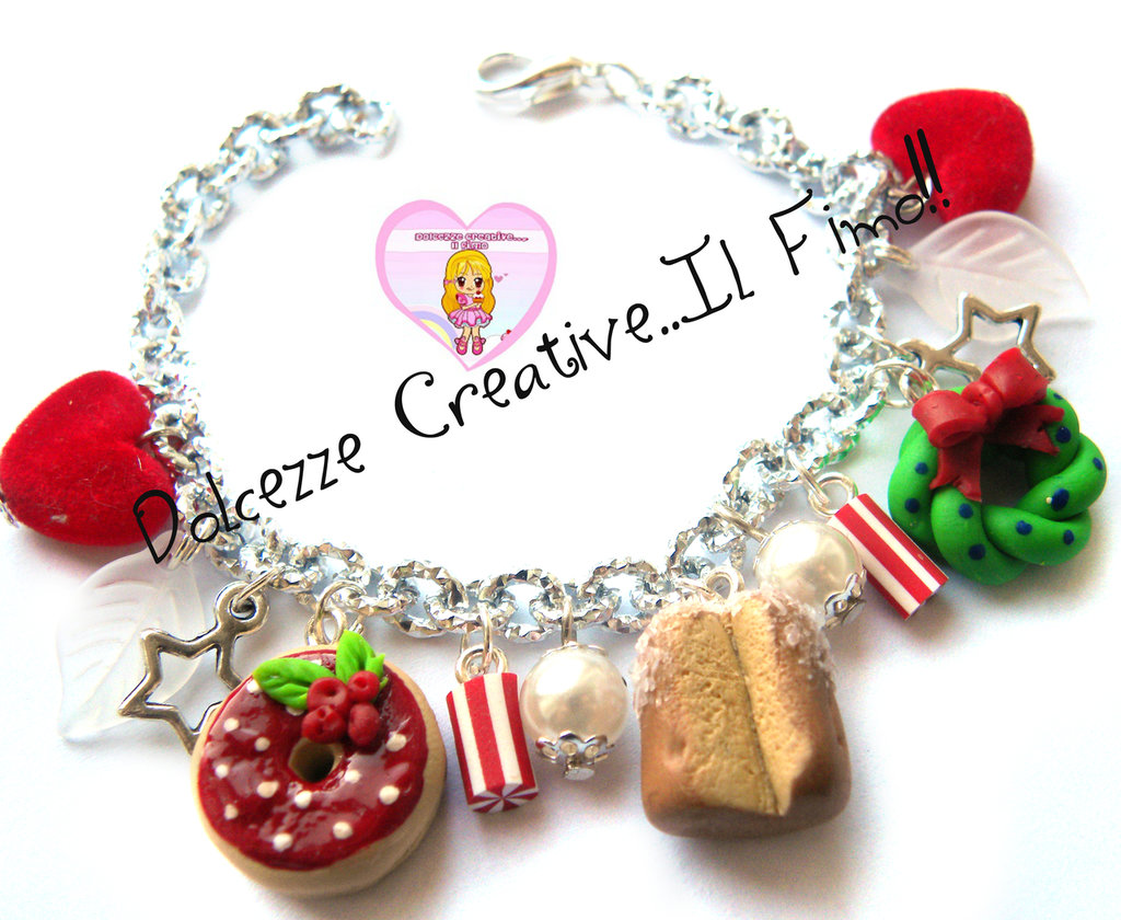 ☃ Natale In Dolcezze 2015 ☃ Bracciale Pandoro - Ghirlanda - Perle - Idea regalo - Donut - Cuori - Ciambelle