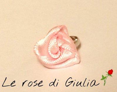 Anello misura baby con rosellina in raso fatta a mano