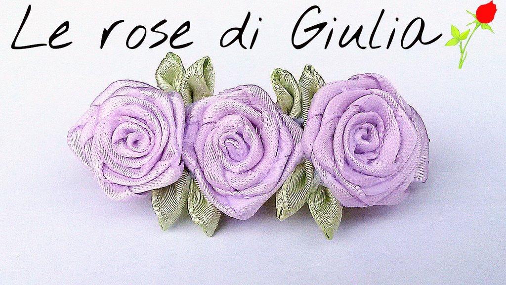 Fermaglio di rose in raso lilla realizzate a mano