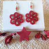 Orecchini pendenti rosso e argento