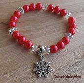 Bracciale elastico inverno natale perle rosse fiocco di neve