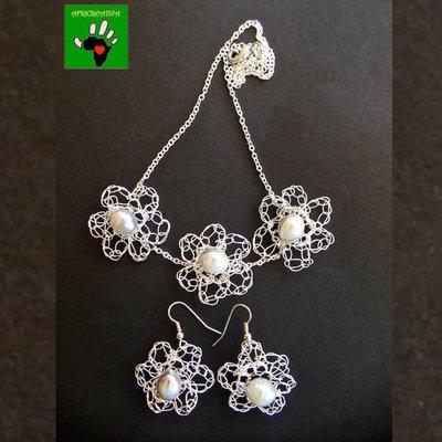 Parure crochet argento e perle