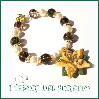 """Bracciale Natale 2015 """" Poinsettia Oro/verde """"  Stella di Natale Bijoux natalizi perle cristalli elegante donna ragazza"""