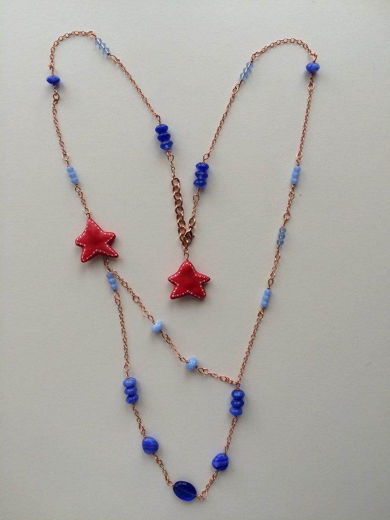 Collana Stelle marine e vetro blu