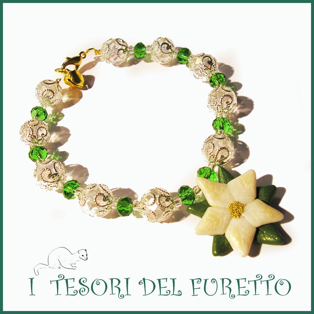 """Bracciale Natale 2015 """" Poinsettia  Verde bianco oro """" Stella di Natale Bijoux natalizi perle cristalli elegante donna ragazza"""