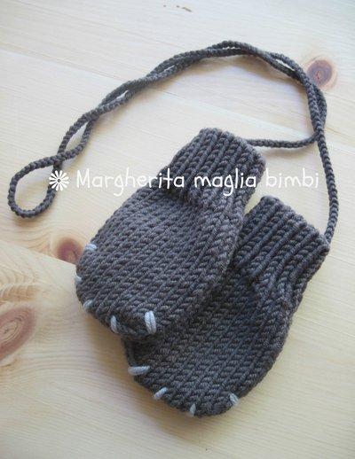 """Muffole """"orsetto"""" in pura lana merino superwash color moka fatte a mano"""