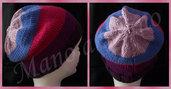 Cappello abbondante a righe viola