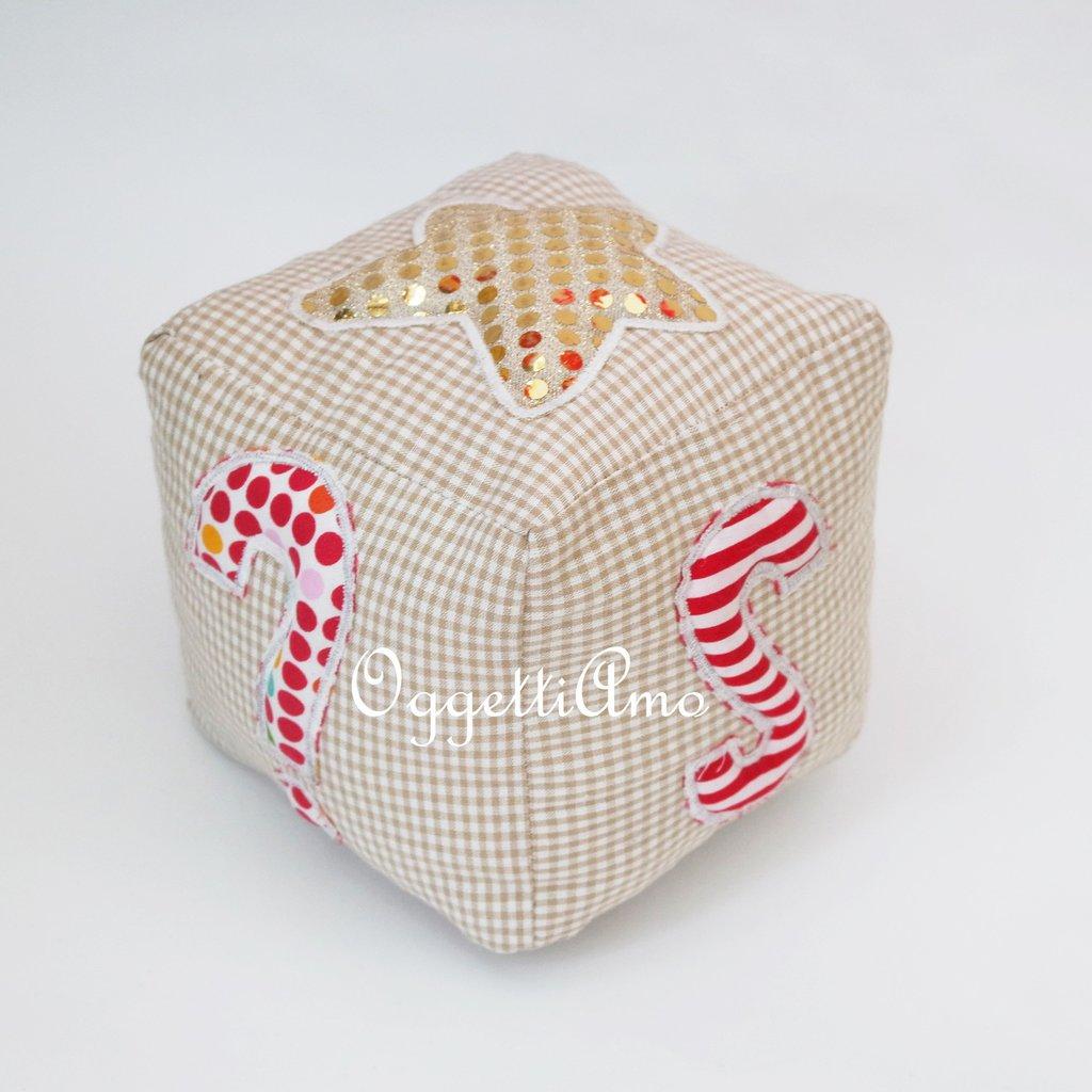 Fermaporta in stoffa a forma di Dado con lati personalizzabili