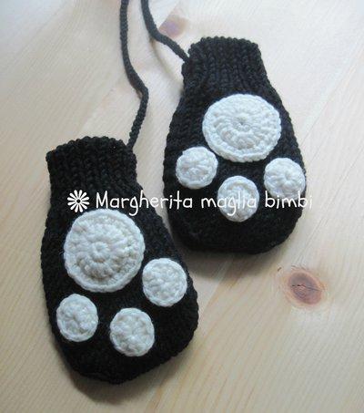 """Muffole """"panda"""" per bambino in pura lana merino superwash fatte a mano"""