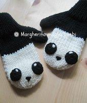 """Manopole """"panda"""" per bambino in pura lana merino superwash fatte a mano"""