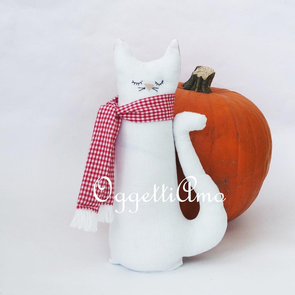 Fermaporta 'Gatto bianco' in cotone: un'idea regalo originale e personalizzabile!