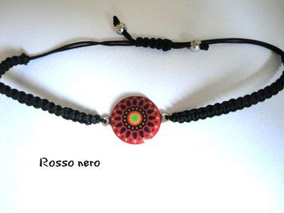 """Bracciale Cammeo Colorato """" Rosso-Nero"""""""