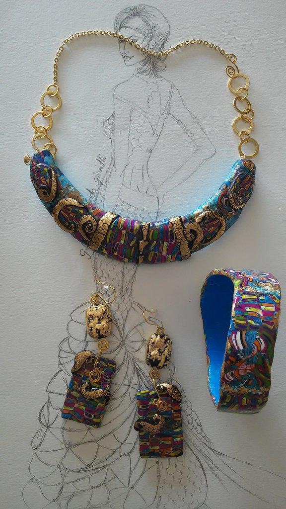 Parure trio inspirata a Klimt