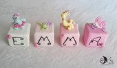 Cubi nome decorativi idea regalo decorazione cameretta bimba animaletti giungla personalizzabili