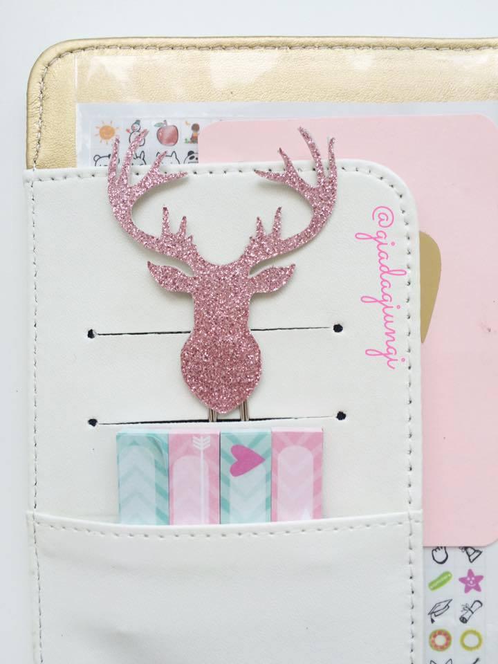 Paperpins lifeplanner-  Alce rosa glitter