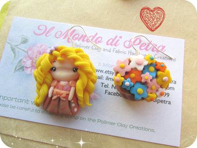 Orecchini Doll Campagnola e Cestino di Fiori in Fimo