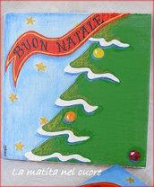 Lavagna piccola albero di Natale realizzata e dipinta a mano