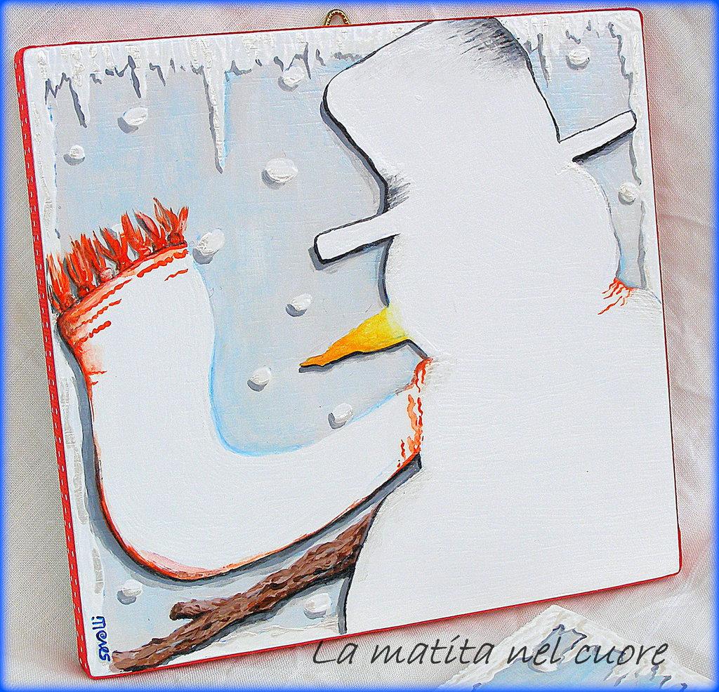 Lavagna piccola pupazzo di neve realizzata e dipinta a mano